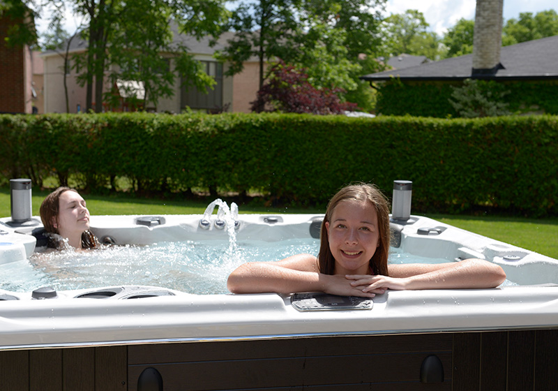Kids in hot tub