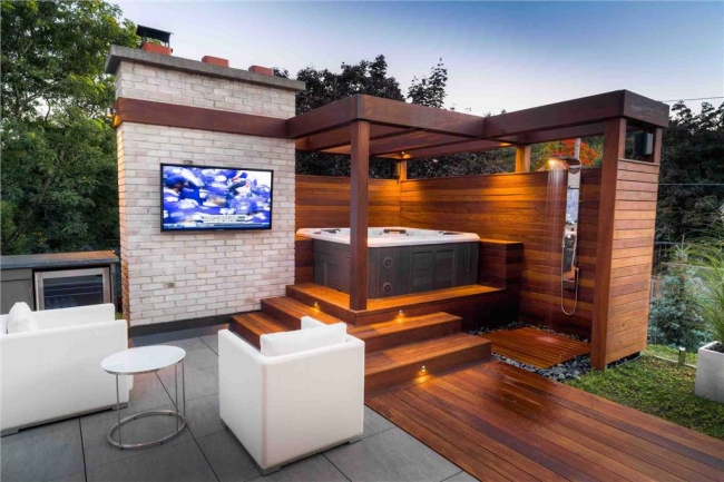 hot tub installed with outdoor TV