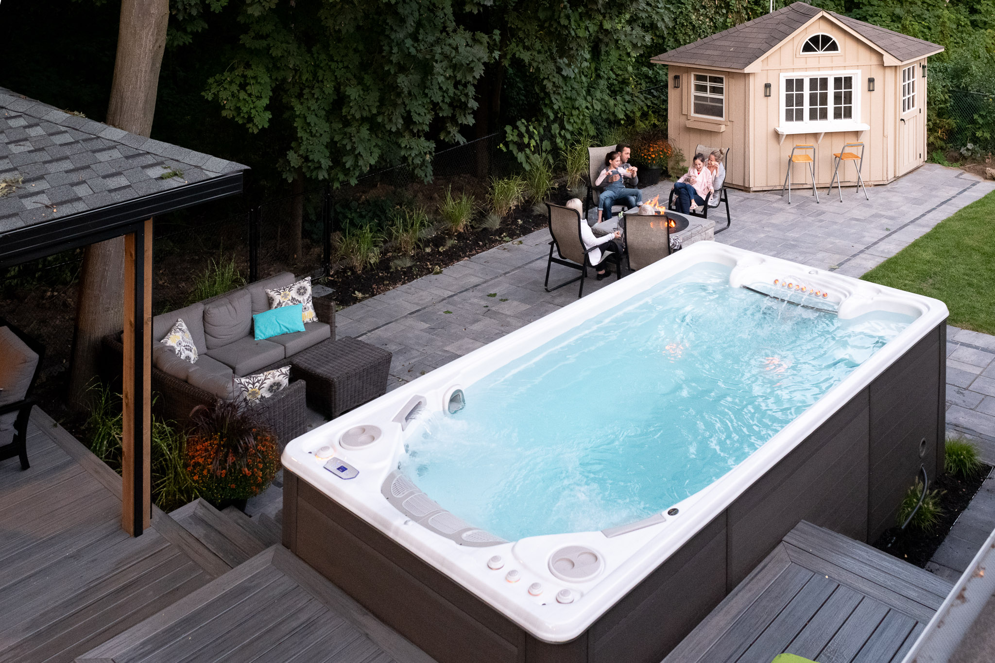 swim spa in garden