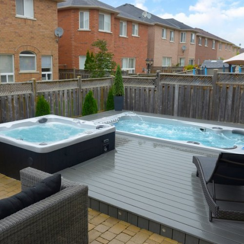 Hot Tub and swim spa in decking